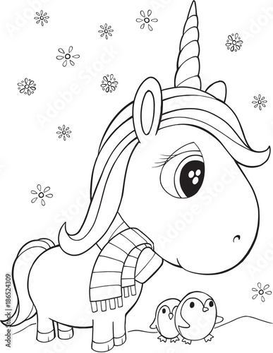 Poster Cartoon draw Winter Holiday Unicorn and Penguins Vector Illustration Art
