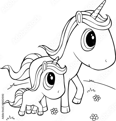 Poster Cartoon draw Cute Unicorns Vector Illustration Art