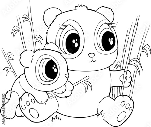 Fotobehang Cartoon draw Cute Pandas Vector Illustration Art