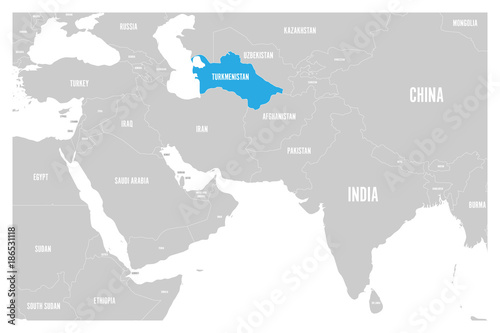 Turkmenistan blue marked in political map of South Asia and Middle East Canvas Print