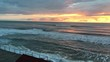 Sea. Sunset. The sun is almost village