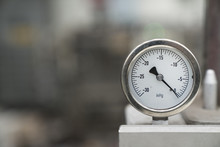 Pressure Gauge Was Mounted On The Old Machine, Measuremant And Equipment In The Industry