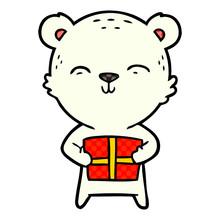 Polar Bear With Christmas Present Cartoon
