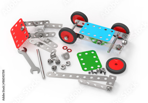 Fotografie, Obraz  Car toy mechanical construction, isolated on white background, 3d rendering