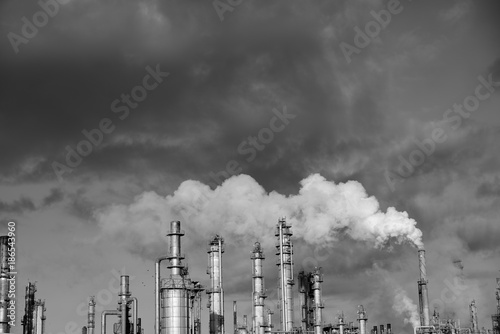 Fototapeta Carbon emissions, smokestack, petrochemical refinery, black and white, Corpus Christi obraz na płótnie