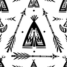Pattern With Tee Pee Wigwam And Arrows