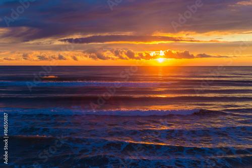 Fotografie, Obraz  Sea. Sunset. The sun is almost village