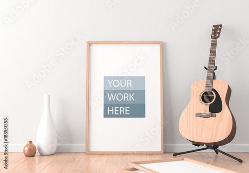 Framed poster mockup with acoustic guitar comprar este modelo do