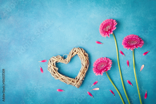 255890cc468af Greeting card for Woman or Mother day. Spring background with pink flowers