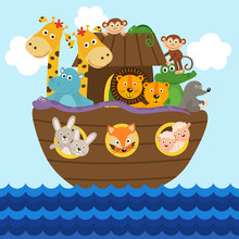 Noah's Ark Full Of Animals Abo...