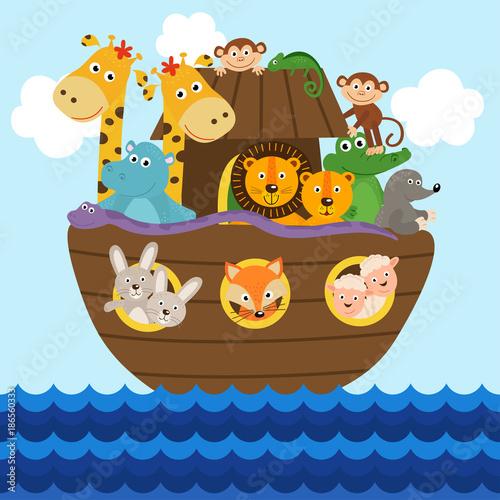 Noah's ark full of animals aboard  - vector illustration, eps Fototapet