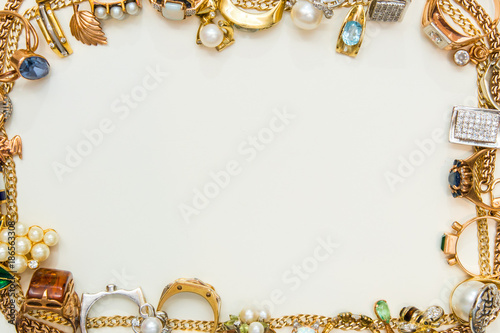 Photo Fashion jewelry frame on white background