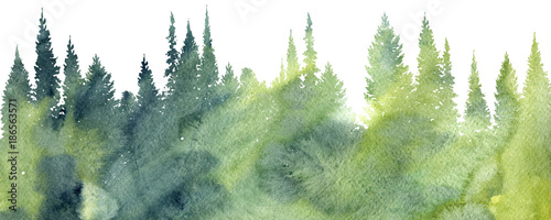 Garden Poster White watercolor landscape with trees