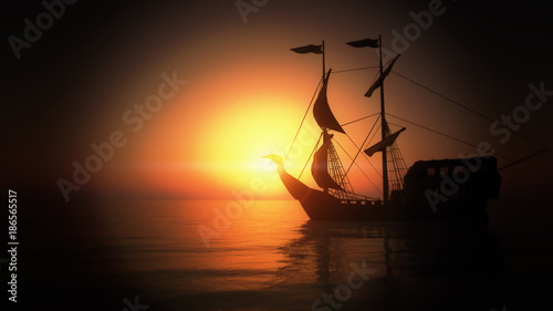 Canvas Prints Ship old ship in sea sunset