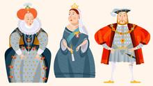 History Of England. Queen Elizabeth I, King Henry VIII, Queen Victoria.