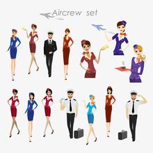 Set Of Aircraft Crew ,stewards...