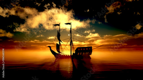 Fotobehang Schip old ship in sea sunset