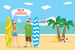 Cartoon caucasian couple in red hats holds surfboards on the beach,