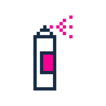 Pixel Spray Can Pixel Grafitti Art Cartoon Retro Game Style