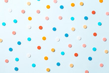 Confetti. Colorful Dots View From Above On A Light Background. Top View