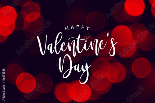 Fotografía  Happy Valentine's Day Celebration Text Over Red Duotone Bokeh Lights Background