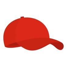 Red Baseball Cap Icon. Flat Il...