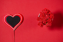 Red Black Heart To The Day Of The Holy Valentine And Flowers