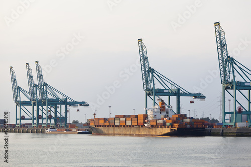 Foto op Plexiglas Antwerpen Docked Container Ship In Harbor
