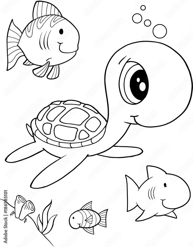 Printed Kitchen Splashbacks Cute Sea Turtle Vector Illustration