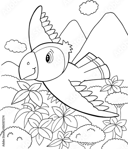 Fotobehang Cartoon draw Cute Parrot Bird Vector Illustration Art