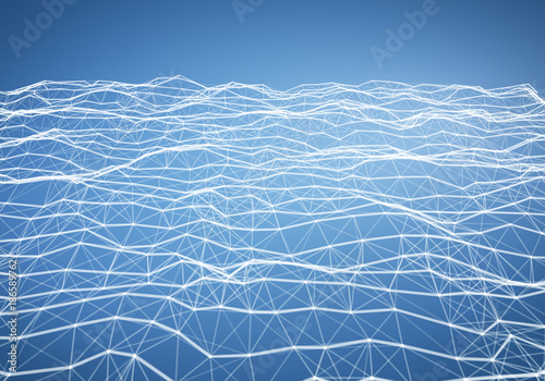 Abstract Light Blue Polygonal Terrain Relief Low Poly