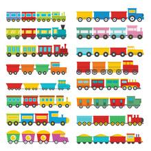 Train Toy Children Icons Set. ...