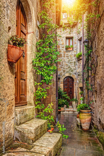 Fototapety, obrazy: Alley in old town, Pitigliano, Tuscany, Italy
