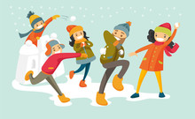 Young Happy Caucasian White Family Playing Snowball Fight And Having Fun In Snow In Winter. Cheerful Mother And Father Playing Snowballs With Their Children. Vector Cartoon Illustration.