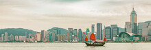 Hong Kong Skyline At Sunset Pa...
