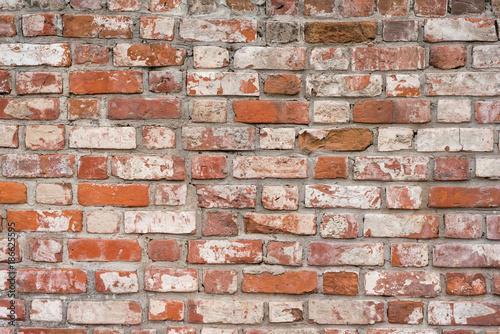 Foto op Plexiglas Wand Brick wall, old texture of red stone blocks. Background.