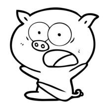 Shocked Cartoon Pig Sitting Down