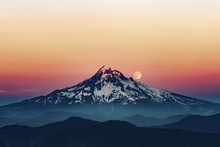 Moon Over Mount Hood