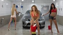 Car Wash. Three Sexy Young Bea...