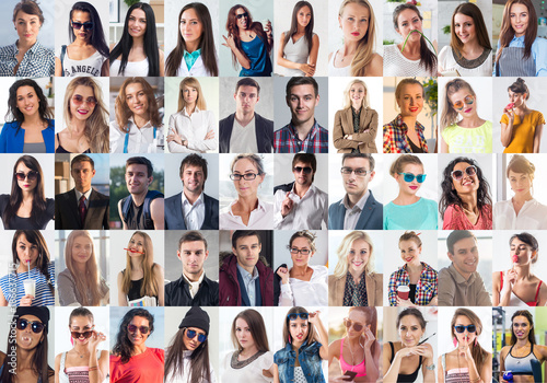 Photo  Collection of different many happy smiling young people faces caucasian women and men