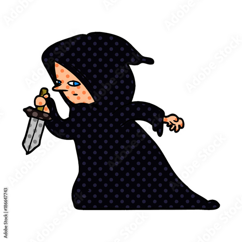 cartoon assassin in dark robe Poster