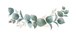 Fototapeta Kwiaty - Watercolor vector wreath with green eucalyptus leaves and branches.