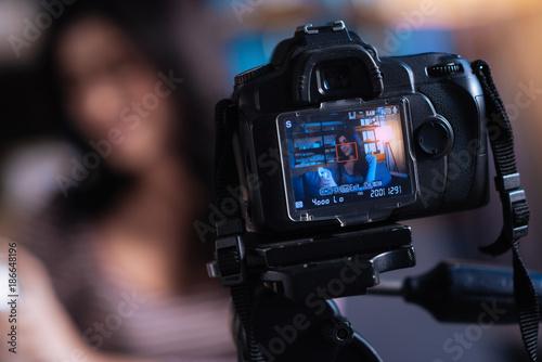 Fototapeta Video recording. Close up of camera screen showing the recording video with a beauty blogger obraz na płótnie