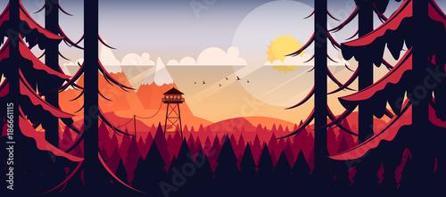 Obraz na plátne Vector Art Landscape with Fire Lookout Tower