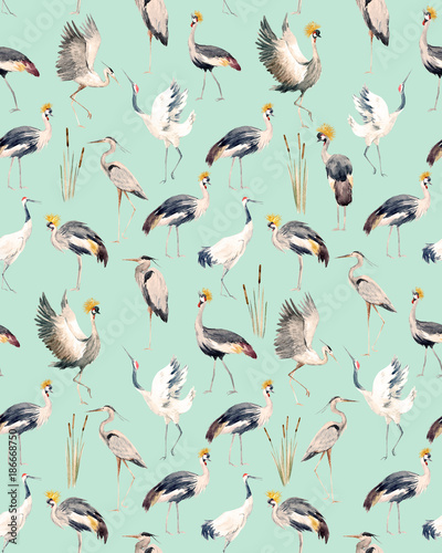 Cotton fabric Watercolor african crane pattern