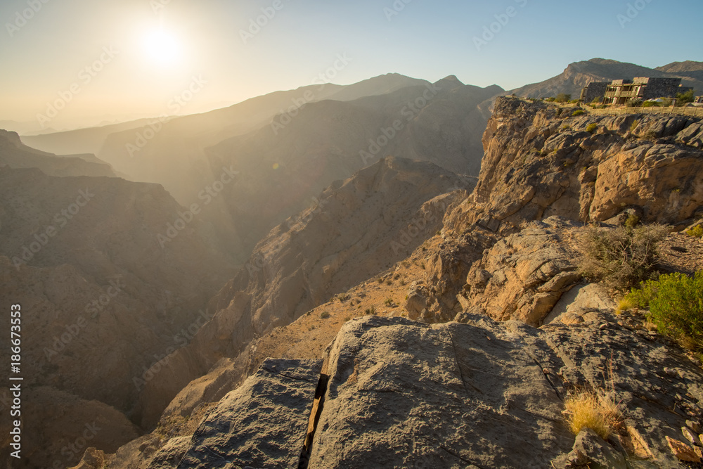 Oman Mountains at Jabal Akhdar in Al Hajar Mountains