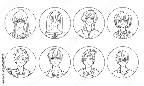 Collection of male and female anime or manga cartoon characters or avatars hand drawn with black contour lines on white background. Set of portraits of young men and women. Vector illustration. - 186674525