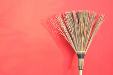 Coconut Broom With Red Wall Ba...