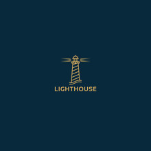 Vector Lighthouse Geometric Illustration For Logo, Label Design. Nautical, Seafood Restaurant, Hotel, Surveillance Themes.