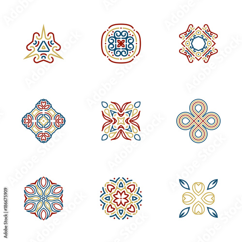 Photo sur Aluminium Style Boho Logo design templates. Vector Abstract geometric pattern shapes for yoga, spa, boho, wellness, nature, ethnic, tribal logo design.